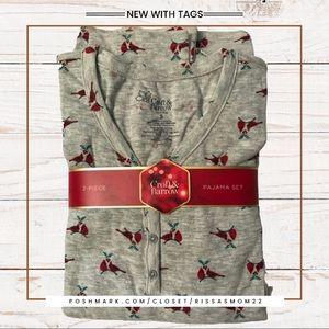 CROFT & BARROW Gray Pajama Set Size Small NWT